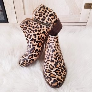 NWT Lucky Brand Leopard Print Leather Ankle Bootie